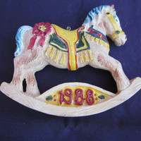 Vintage Eaton Rocking Horse 1988 Christmas Ornament, original box