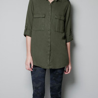 MILITARY SHIRT WITH STUDDED SHOULDERS - Shirts - Woman - ZARA United States