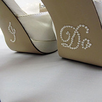 Bride &quot; I Do &quot; Shoe Sticker for Bride in Pearl Rhinestone Great for Wedding Photos - Script