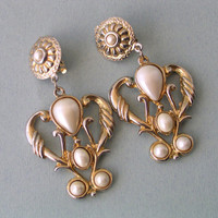 Glamorous Golden Metal and Pearl like Balls Vintage Earrings