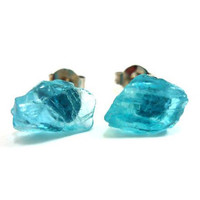 Raw Aqua Blue Apatite Gemstone Druzy Stud Earrings by AstralEYE