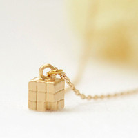 Tiny Cube drop Necklace by laonato on Etsy