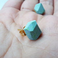 mint green marbled geo earrings by amerrymishap on Etsy