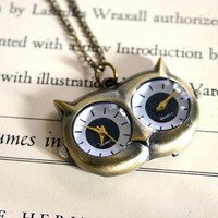 Owl Double Watch Necklace, Unique, Owl Clock, Oxidized Brass, Long Necklace, Christmas Gift, Holiday Gift Idea