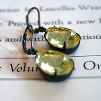 Large Vintage Jonquil Glass Jewels in Dark Oxidized Brass, Lever Back Ear Wires, Estate Style, Christmas Gift, Stocking Stuffer