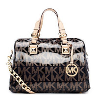 MICHAEL Michael Kors  Medium Grayson Patent Logo Satchel with Strap - Michael Kors