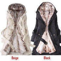 Women Winter Coat with Faux Fur Ling 2 in 1 Hood Fur Parka Overcoat Long Jacket