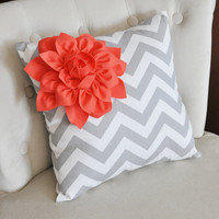 Coral Corner Dahlia on Gray and White Zigzag Pillow 14 X 14 -Chevron Flower Pillow- Zig Zag Pillows