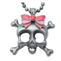 Gun Metal & Pink Skull with Bow Necklace - Unique Vintage - Bridesmaid & Wedding Dresses