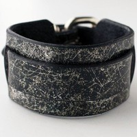 ShanaLogic.com - 100% Handmade & Independent Design! The Perfect Leather Cuff - Distressed Silver & Black - Geek Chic