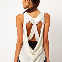 Lace Cutout Bow Back Tank