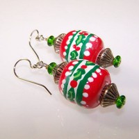 CHRISTMAS HOLLY on Holiday Red Hand Painted Dangle Earrings