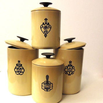 vintage kitchen canisters flour from qtvintages on etsy