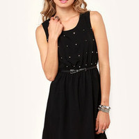 Starry Night Studded Black Dress