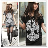 Korean Girl&#x27;s Skull Prints Lace Sleeve Blouses Cool Tops Women&#x27;s Loose T-Shirt