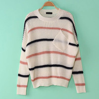 Lady Korean Bulky Striped Dumpy Baggy Bat Wing Knitted Jumper Sweater Coat Tops