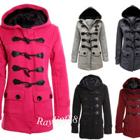 New Hooded Toggle Winter Duffle Coat Womens Warm Button Jacket/Christmas Gift