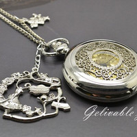 Alice in wonderland pocket watch necklace,with silver alice rabbit pendant NWAW01