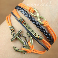 Anchor Bracelet-love bracelet, infinity bracelet, karma bracelet,orange  rope bracelet, leather bracelet-gift for  friends