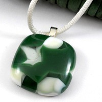 Forest Green and White Fused Glass Pendant Necklace, Handmade OOAK