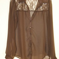 Brown Chiffon Blouse With Lace by Genesis