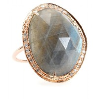 mytheresa.com -  Jacquie Aiche - 14KT ROSE GOLD PARTIAL WHITE DIAMOND LABRADORITE BEZEL RING - Luxury Fashion for Women / Designer clothing, shoes, bags
