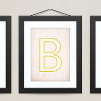 Letter Monogram Nursery Wall Decor, Retro Alphabet Letter, Set of 3, 8 x 10