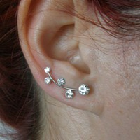 Ear  Sweep Wrap - Cuff  Earring  with Swarovsky