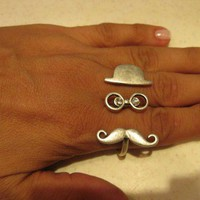 FUNNY Hat&amp;Mustache Double Ring- Stylish Silver pl. Ring-Adjustable