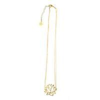 Gold Lotus Flower Necklace | VidaKush