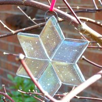 Frosty Glass Star Christmas Ornament, 3 Inch Iridized Clear, Handmade