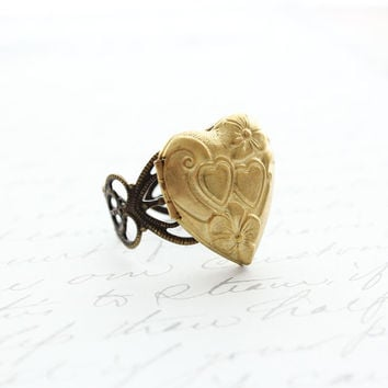 Heart Locket Ring, Gold Brass Adjustable Ring, Novelty, Love Romance Unique Filigree Photo Locket Secret Hiding Place Memories and mementos
