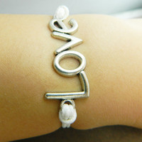 Unisex  simple fashion silver love bracelet-- white wax rope adjustable braided leather bracelet