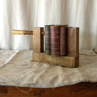 Recycled vintage bookcase wooden carpenter's vise by lapomme