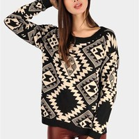 Navajo Print Sweater - Black at Necessary Clothing