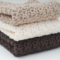 Crochet Kitchen Dishcloths Cotton Washcloths Chocolate Brown, Taupe & Cream Set of 3 Handmade