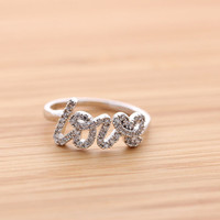 LOVE ring with crystals, in silver | girlsluv.it