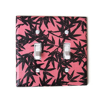 Coral & Black Floral Double Toggle Switchplate