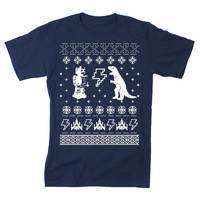 Mens Geeky Christmas Sweater Print Short Sleeve T Shirt (Navy)