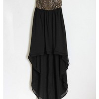SequinBustier High Low Chiffon Dress