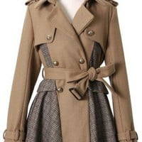 Brown Double Breasted Coat with Checkered Print&Tie Waist