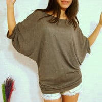 Chocolate Dark Brown Shirt - Women Shirt - Oversized Tee / Batwing Tee / Poncho Sleeve - Women Casual Comfy Top /  Dolman Sleeves Tee