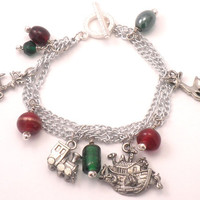 Christmas Charm Bracelet - Biblical - Noahs Ark Reindeers and a Train