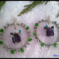 Wrapped Gift Swarovski Crystal Hoop Earring Handmade Green Purple Blue