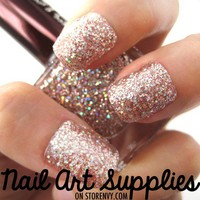 Shattered Diamonds - Shiny Silver Glitter Nail Polish Lacquer 16ml by nailartsupplies