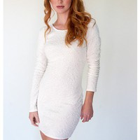 Longsleeve White Textured Bodycon Dress | Sugar and Sequins