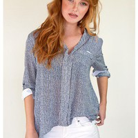 Oversized Navy Striped Blouse | Sugar and Sequins