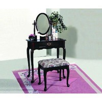 Amazon.com: Crownmark Cherry Vanity Set with Mirror and Bench: Everything Else