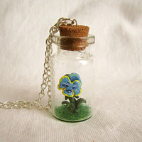 Alice in Wonderland, Talking Flower, Miniature terrarium, Tiny bottle necklace