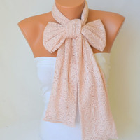 lace scarf  - pale pink cotton lace fashion scarf christmas gifts birthday gifts